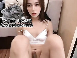 Chinese TS Jerking Off